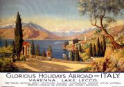 Lake Lecco, Varenna, Italy. Vintage SR Travel Poster by Pio Ximenes